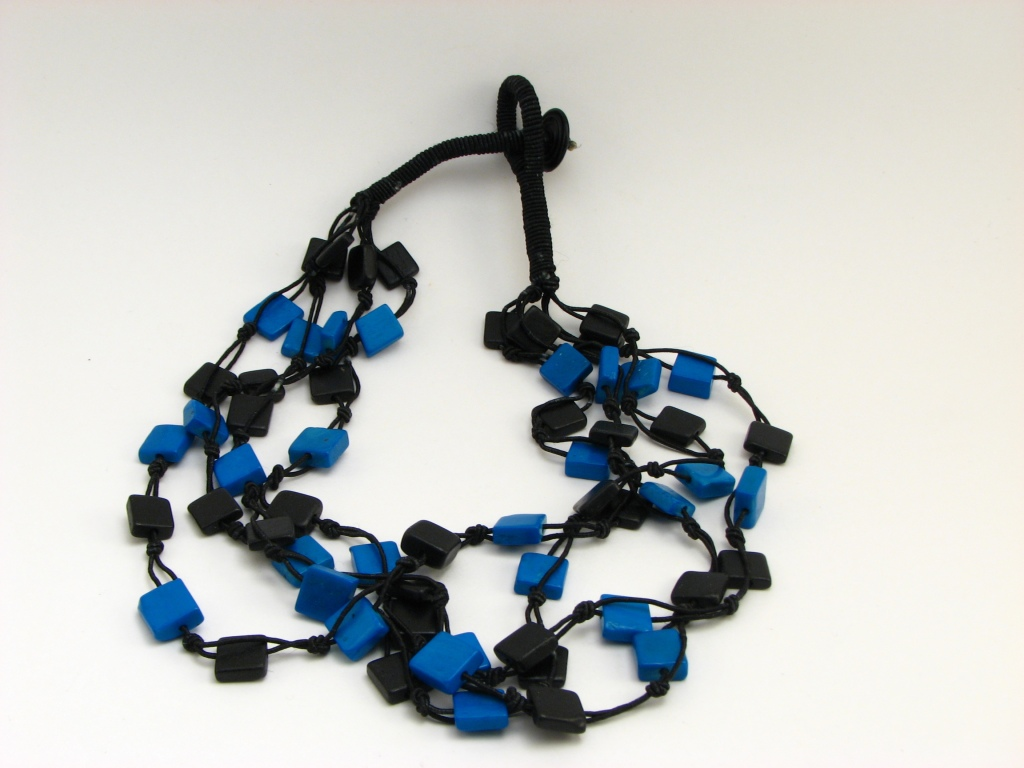 black and blue beaded bib necklace