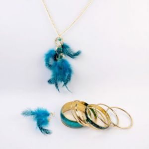 blue feather necklace, earrings and bangles