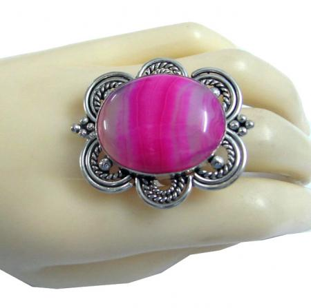 fuchsia pink stone cocktail ring