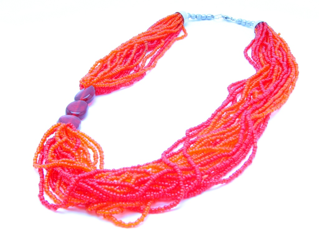 orange and red beaded necklace