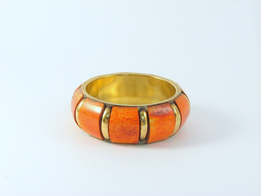 orange wooden chunky bangle