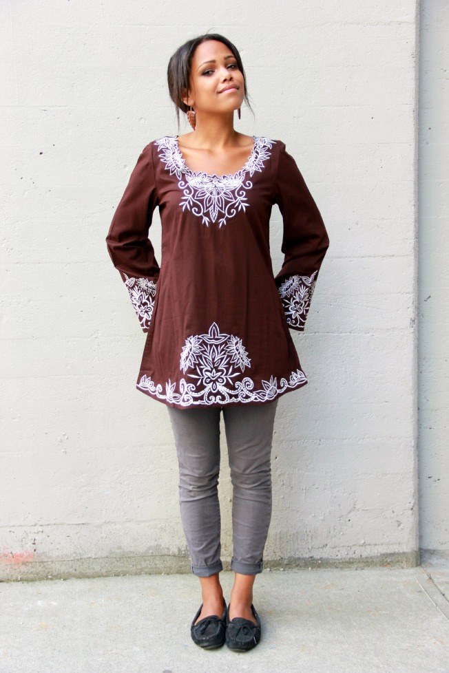 embroidered kurta top in chocolate