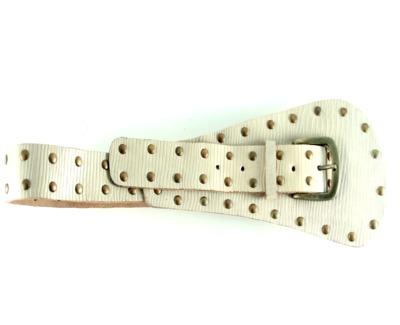embellished leather belt cream