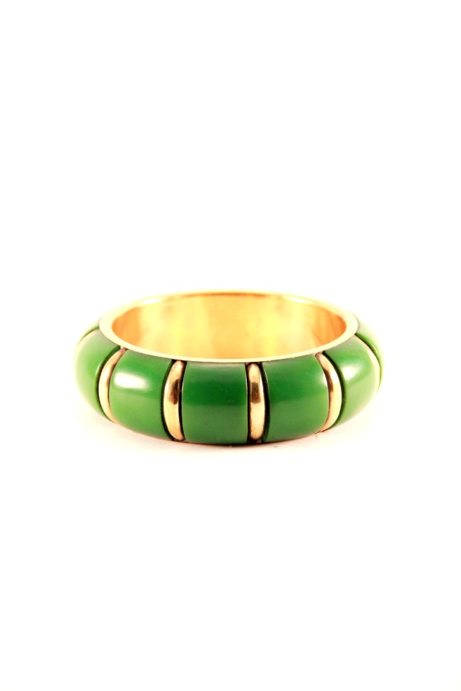 hunky green and gold bangle