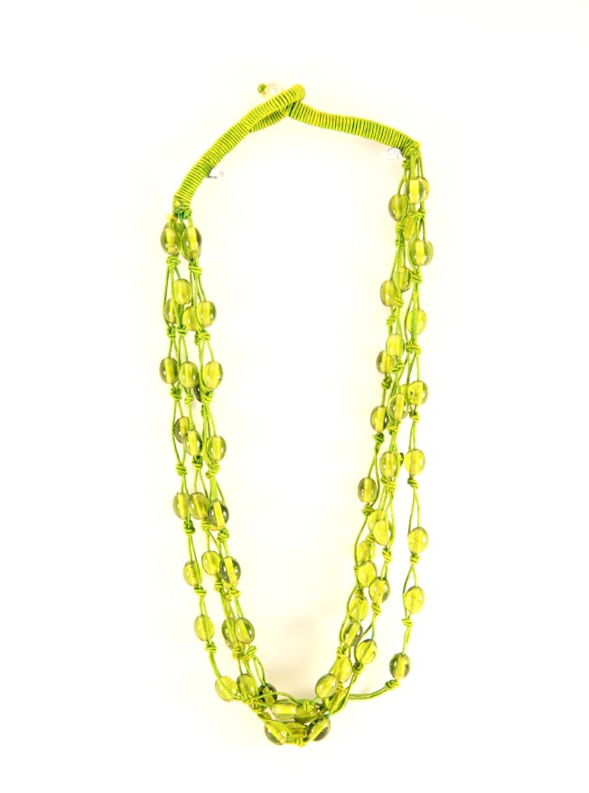 green glass beaded threaded necklace