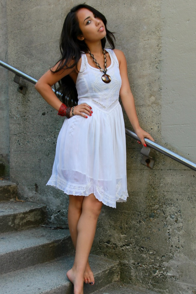 lace crochet little white dress